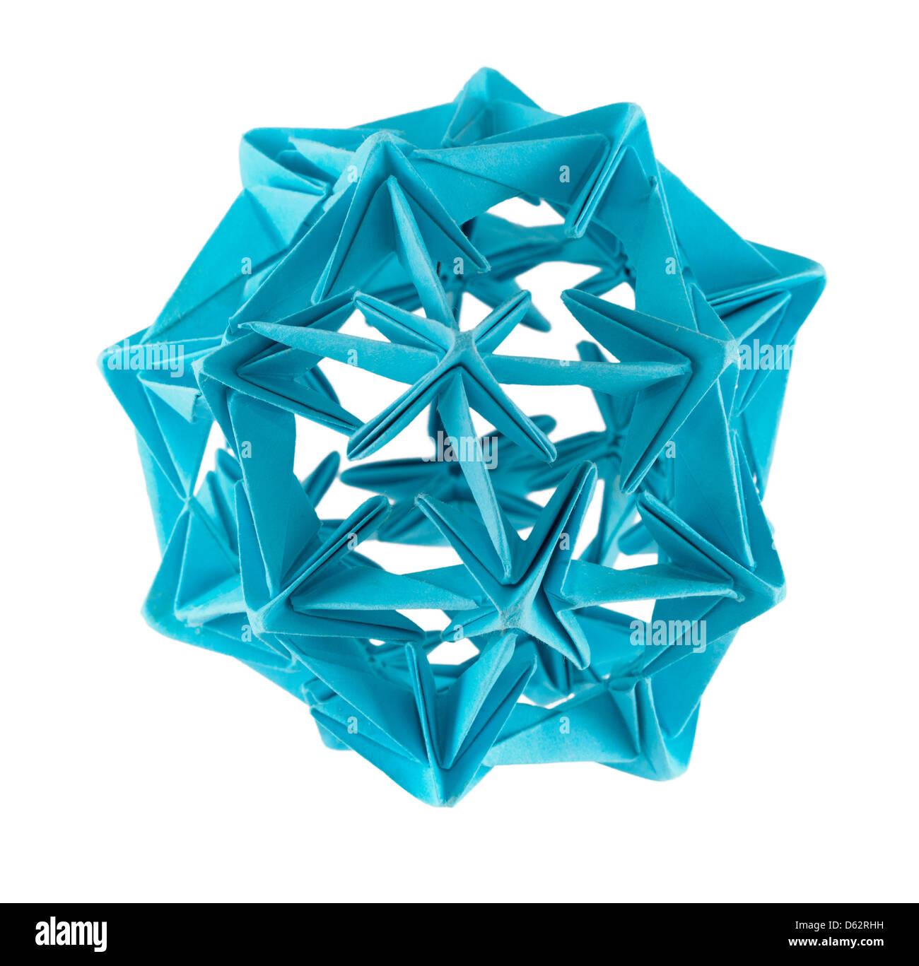 Blaues Papier Kusudama ball Stockbild