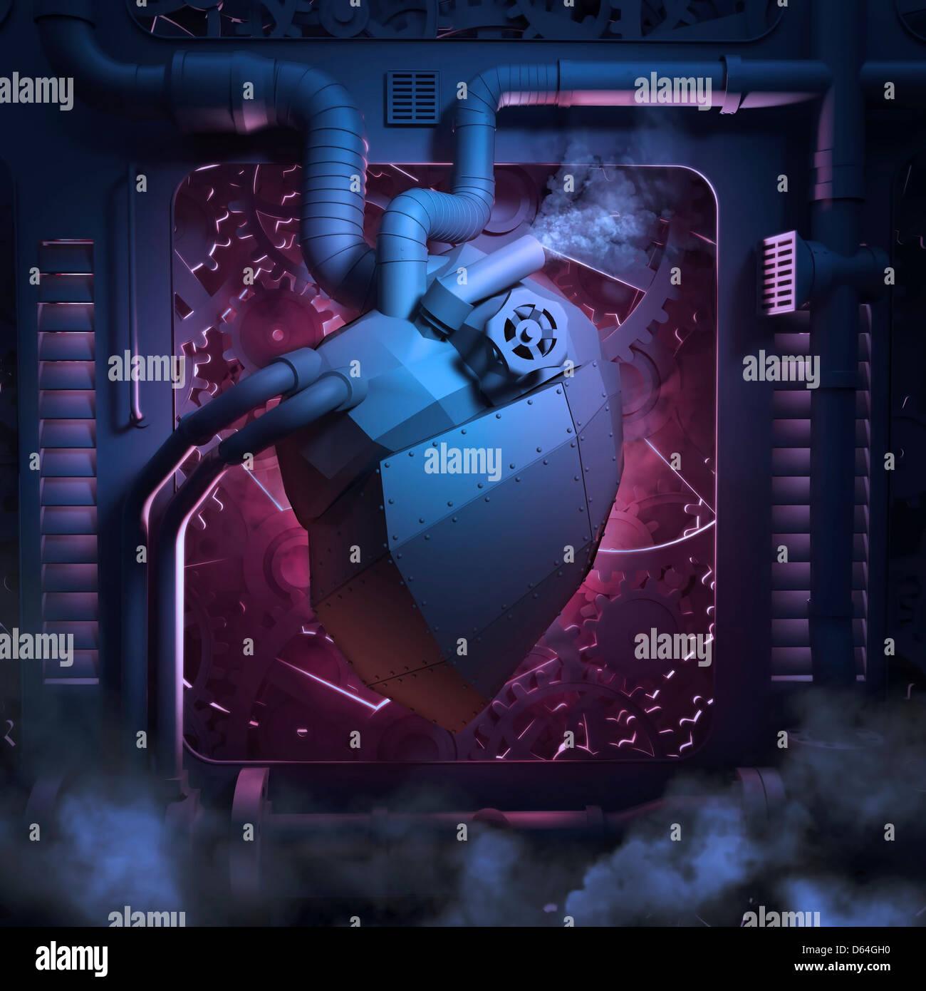 Mechanisches Herz, konzeptuellen Kunstwerk Stockbild