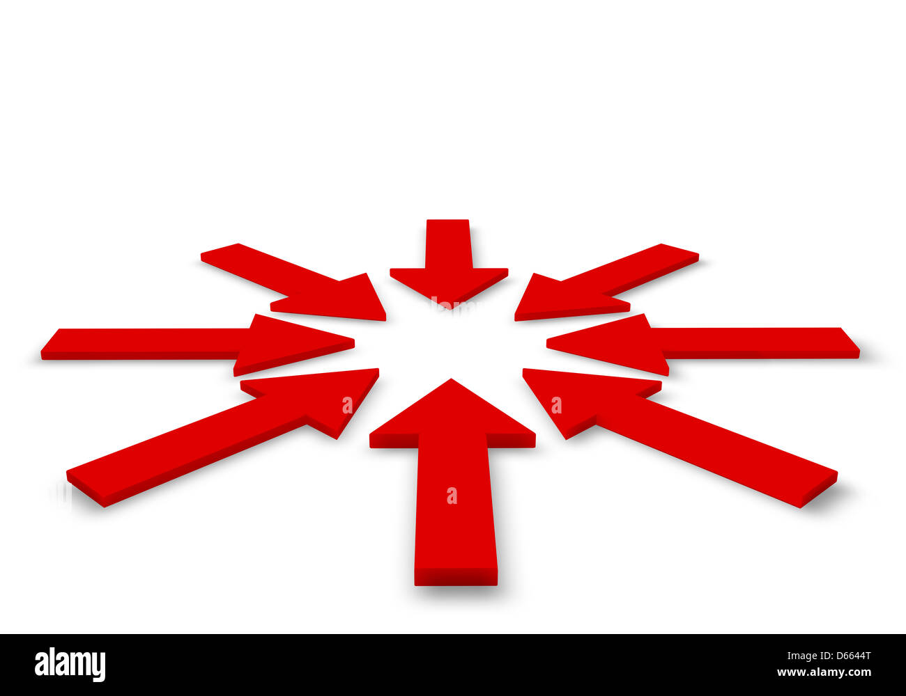 Rote Pfeile in 3D illustration Stockbild
