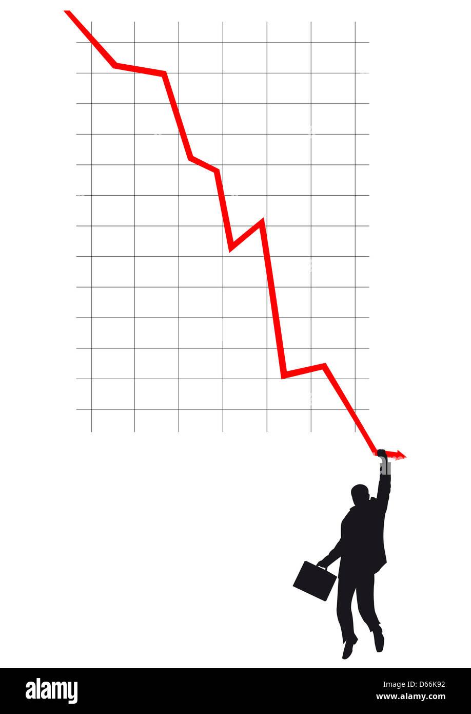 Silhouette von Geschäftsleuten klammerte sich an fallende rote Linie im Diagramm Stockbild