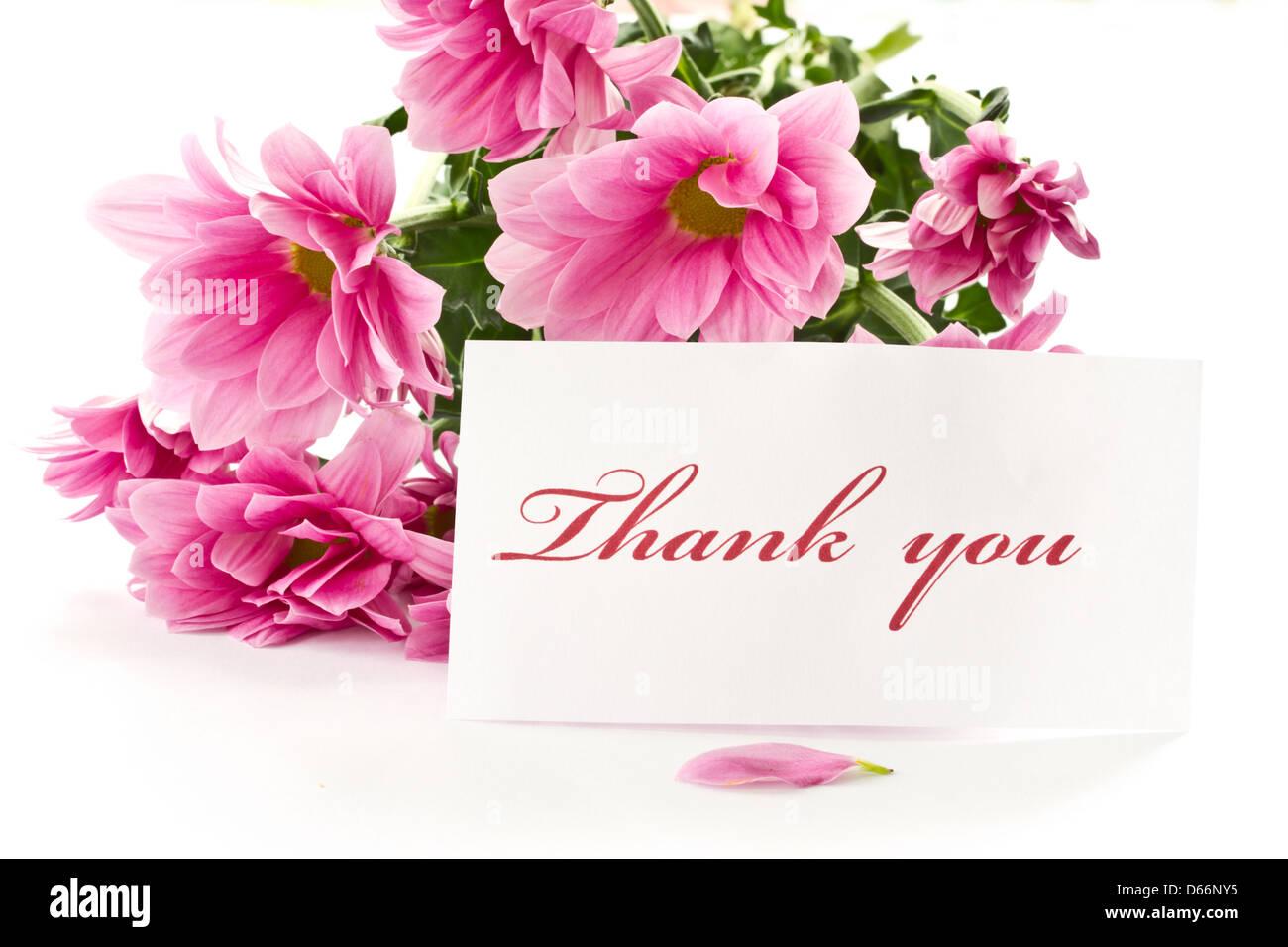 Sagen Sie Danke Auf Einem Hintergrund Von Schönen Blumen
