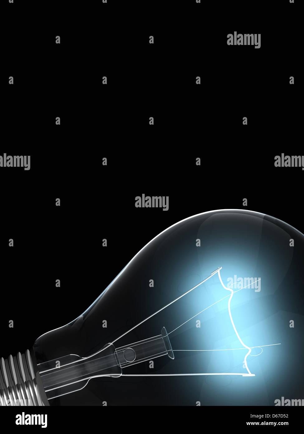 leuchtende gl hbirne auf schwarzem hintergrund stockfoto bild 55483038 alamy. Black Bedroom Furniture Sets. Home Design Ideas