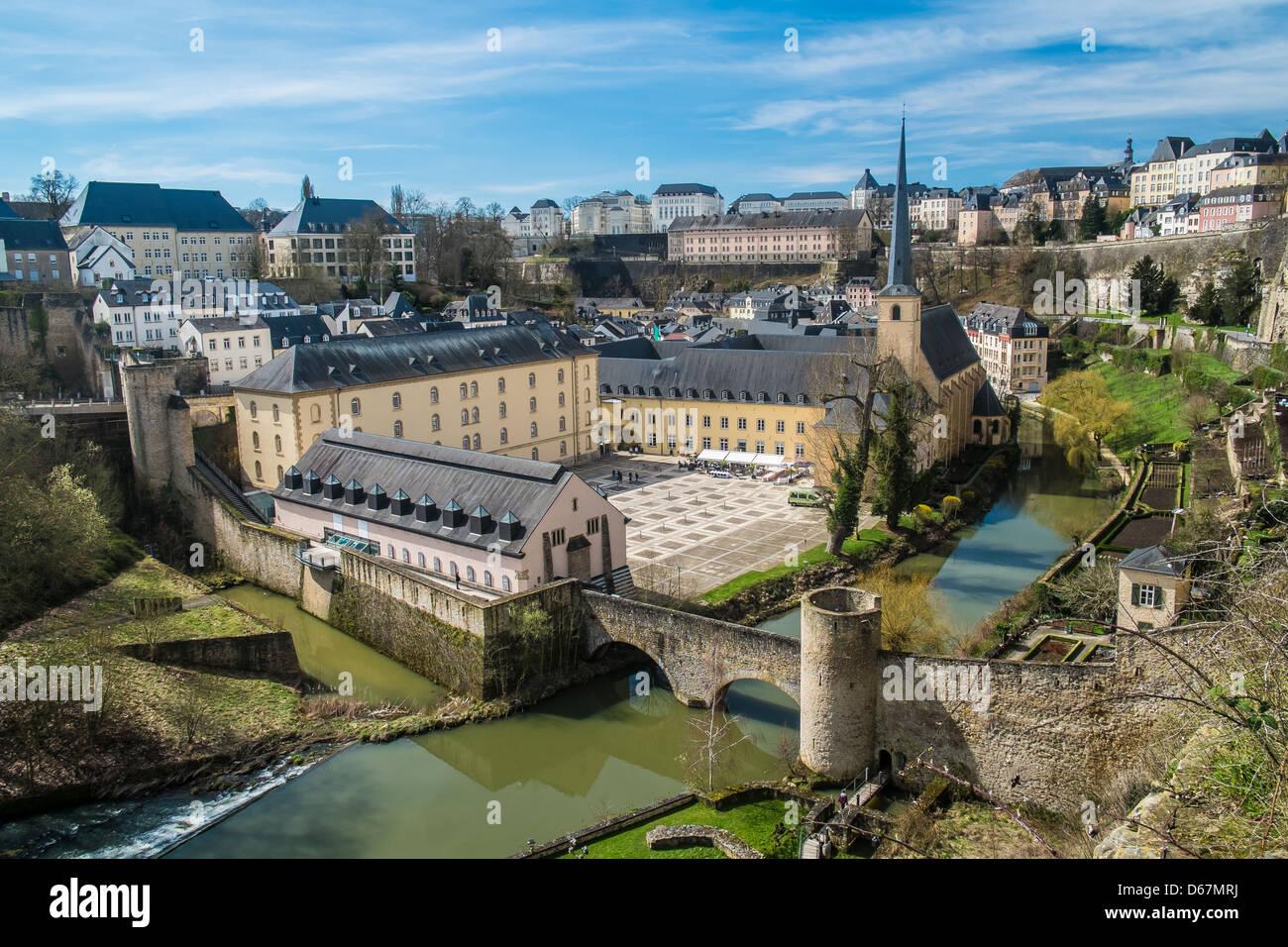 Panorama Blick auf die Abtei Neumünster Luxemburg Stockbild