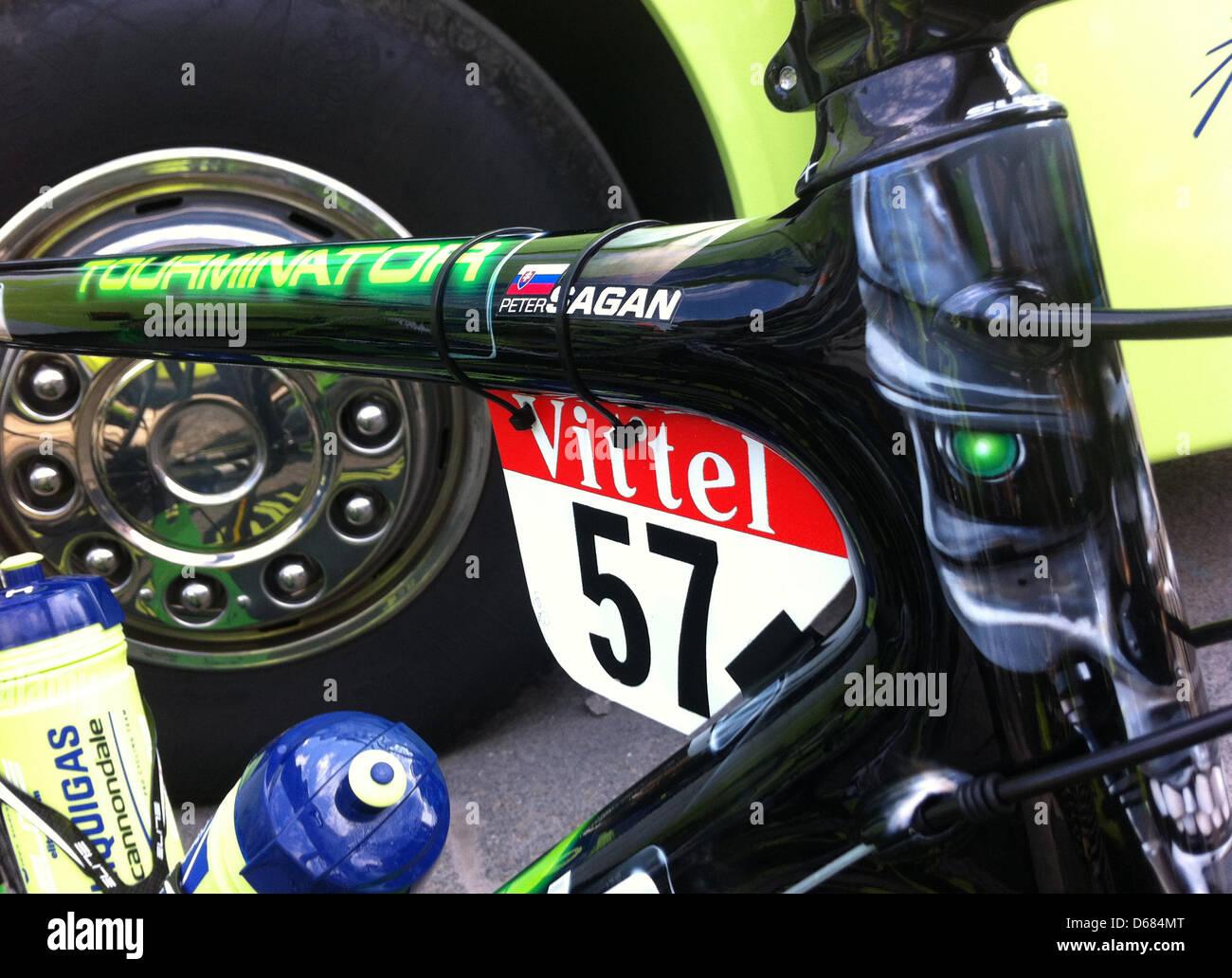 Das Rennrad der slowakischen Radrennfahrer Peter Sagan von Liquigas ...