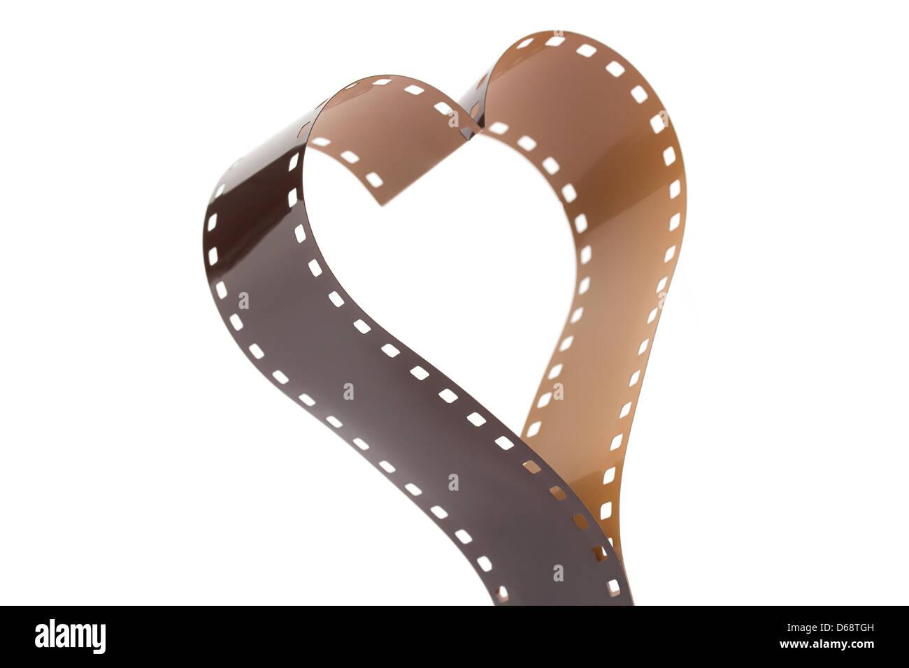 Herzform aus einer 35mm Kamera Filmstreifen auf weiß gemacht Stockbild