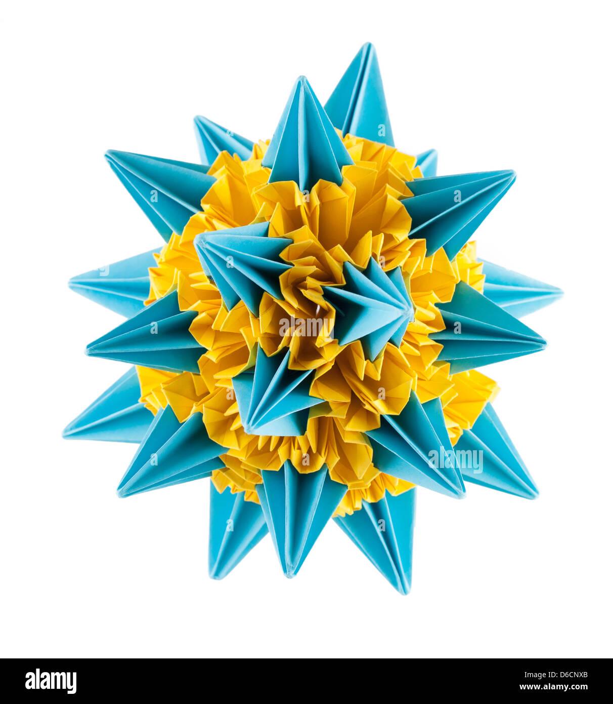 Blaue und gelbe Origami kusudama Stockbild