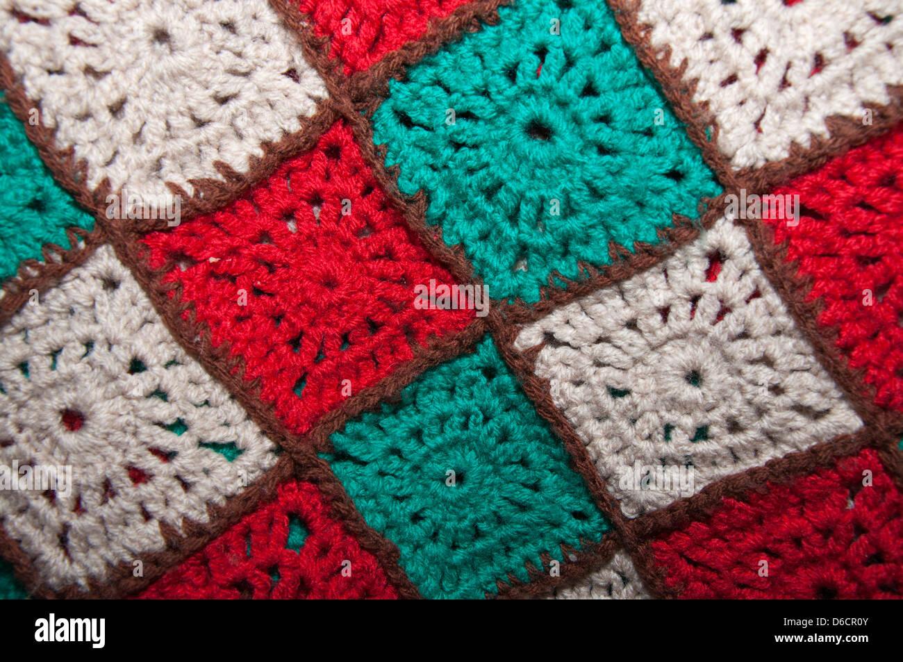 Häkeln Hand Made Wolle Decke Quadrate Abstrakt Multi Farbige