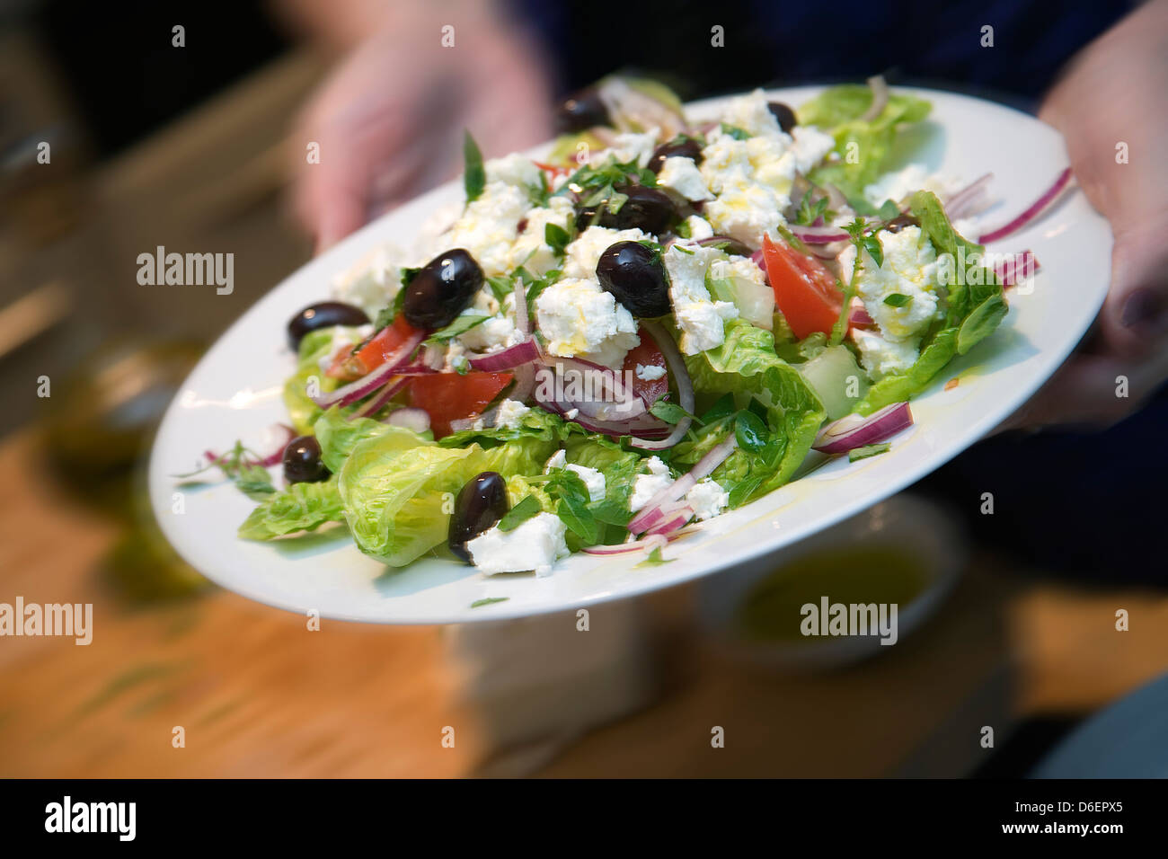 Abgeschlossen Salat / Schritt Schuss Stockbild