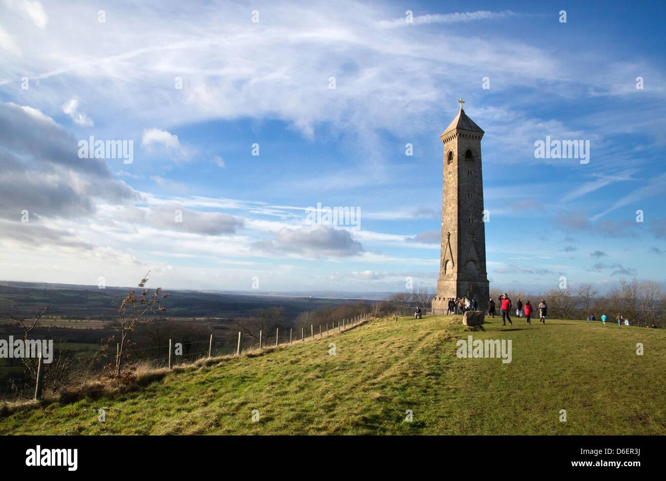 Tyndale Denkmal auf einem Hügel über North Nibley in Gloucestershire ist ein Denkmal für die ersten Stockbild