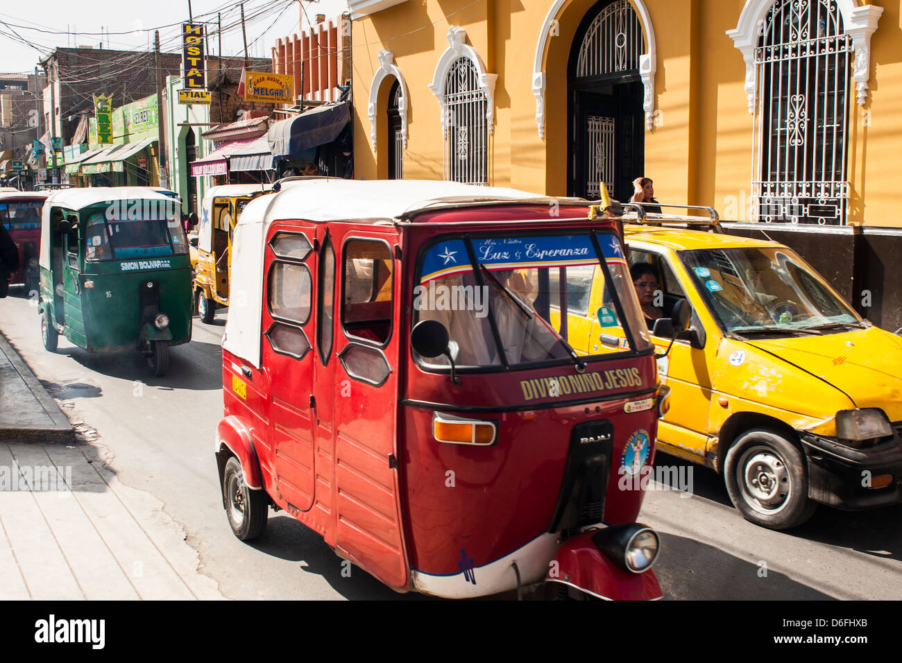 Stau in der Innenstadt von Ica. Stockbild
