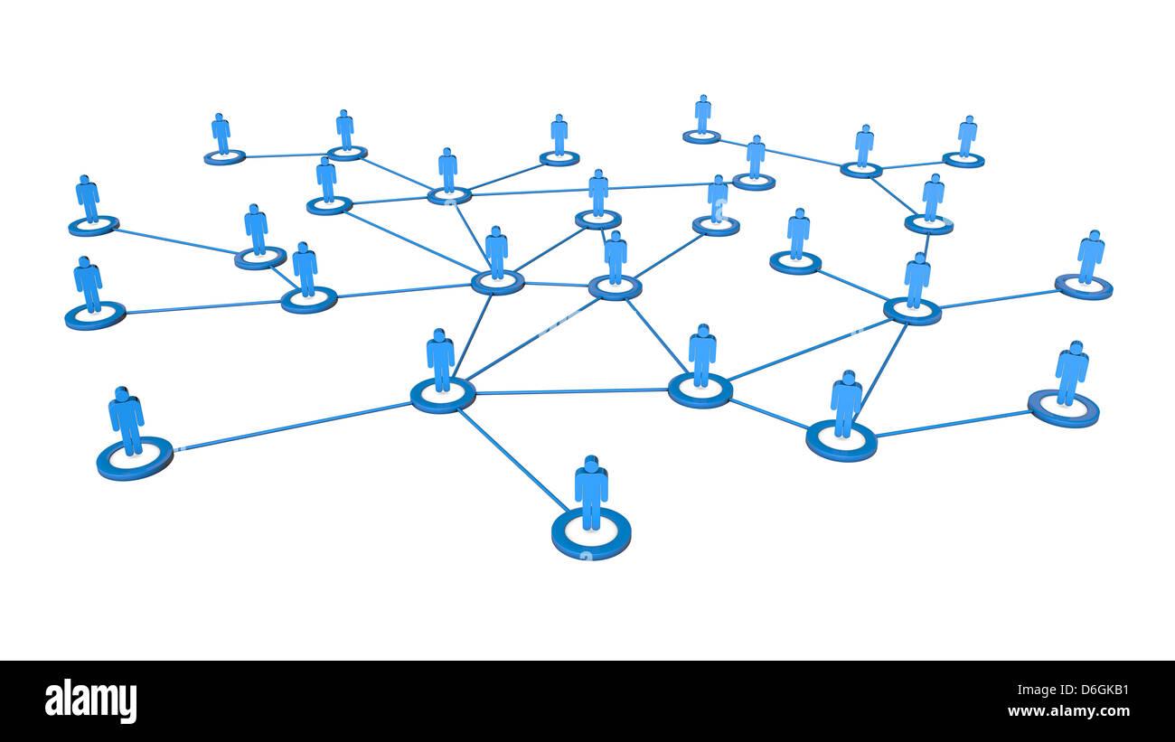 Hochwertige 3d Render Geschäftskonzepts Menschen Netzwerk Verbindungen. Isoliert auf weißem Hintergrund Stockfoto