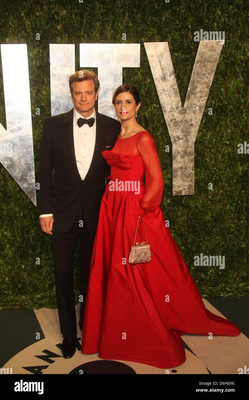 Schauspieler Colin Firth und Frau Livia Giuggioli besuchen die 2012 Vanity Fair Oscar Party im Sunset Tower in Los Stockbild