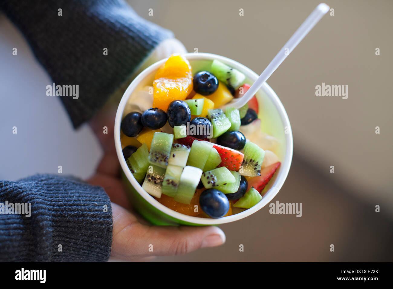 Nahaufnahme von gefrorenen Joghurt Stockbild