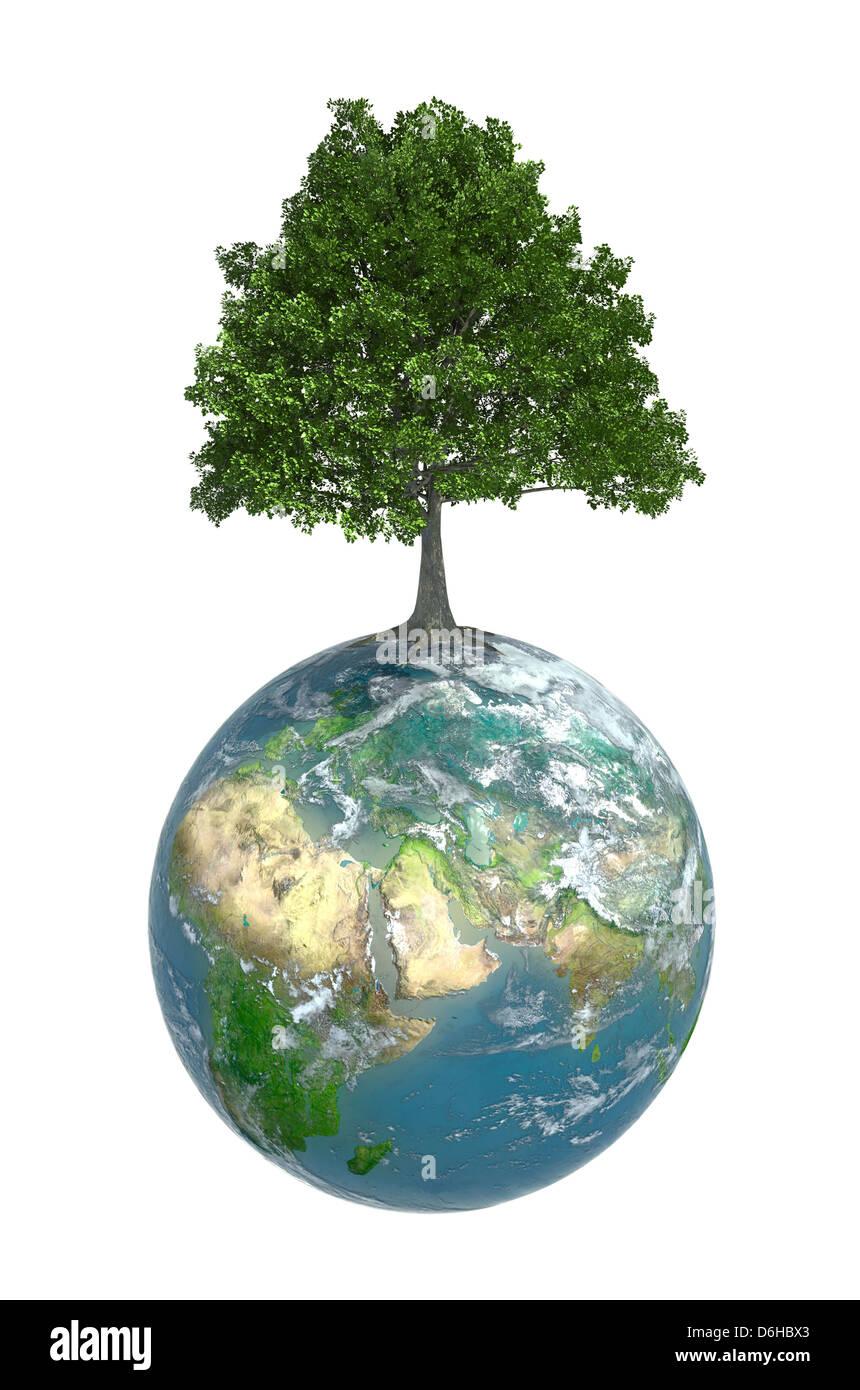 Grüner Planet, konzeptuellen Kunstwerk Stockbild