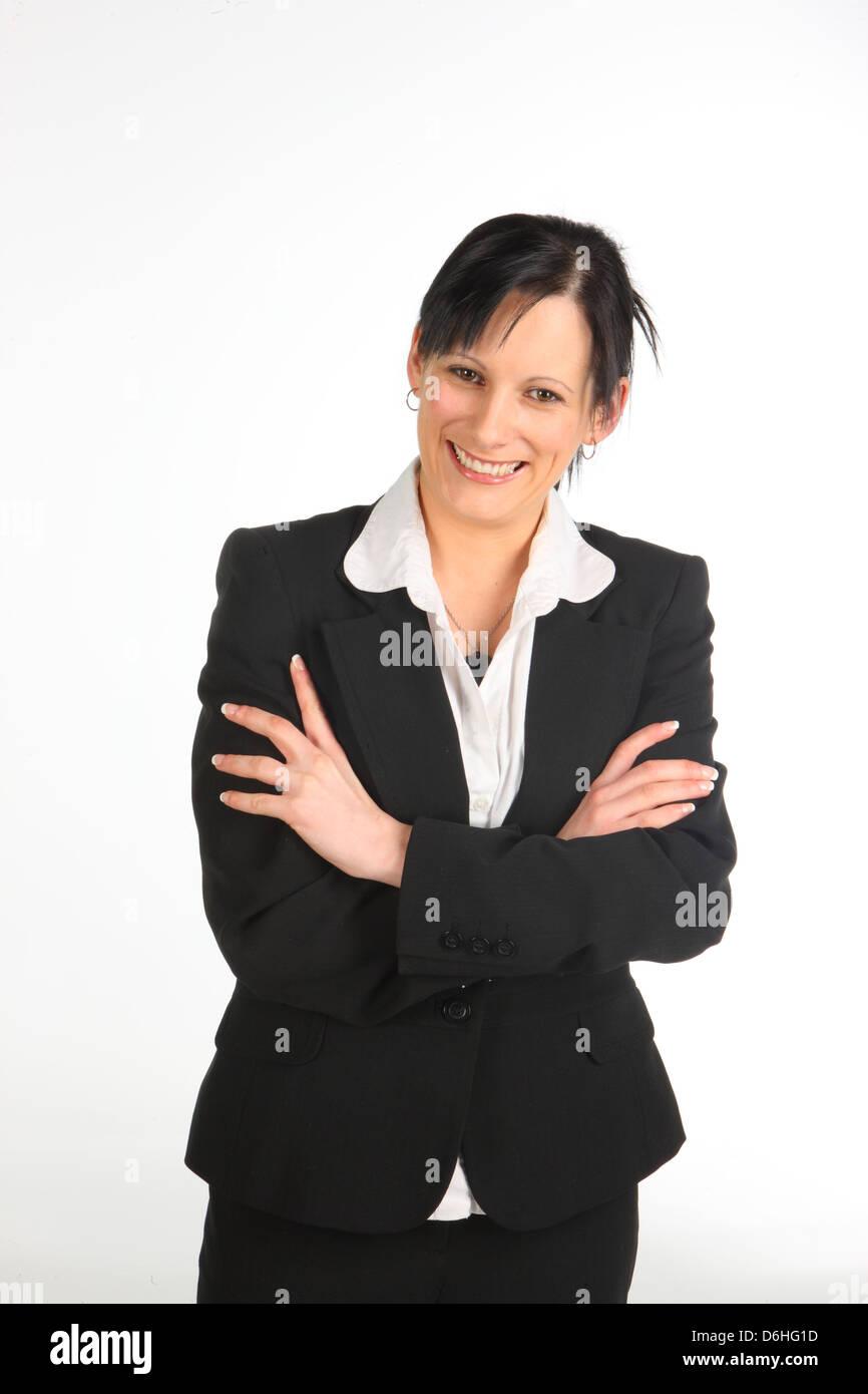 Geschäftsfrau, die Gelenkarme Stockbild