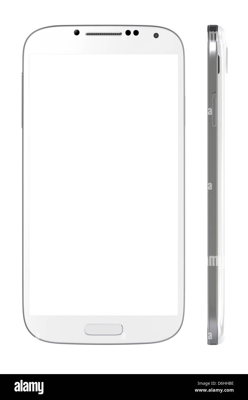 Smartphone mit unbelegten Schirm isoliert auf weiss. Enthalten Sie Beschneidungspfad für Telefon und Bildschirm Stockbild