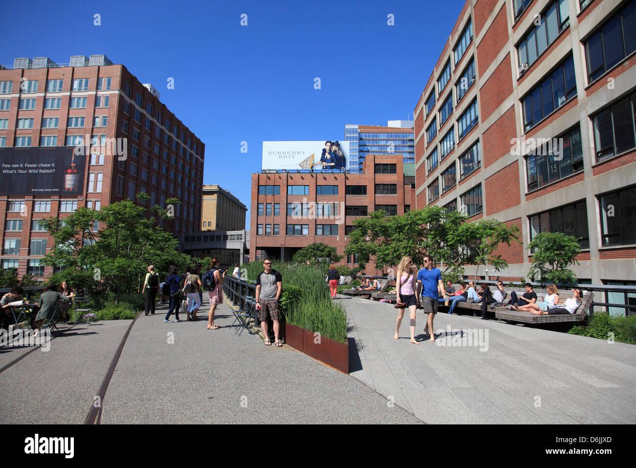 High Line Park, erhöhten öffentlichen Park am ehemaligen Bahngleise, Manhattan, New York City, Vereinigte Stockbild