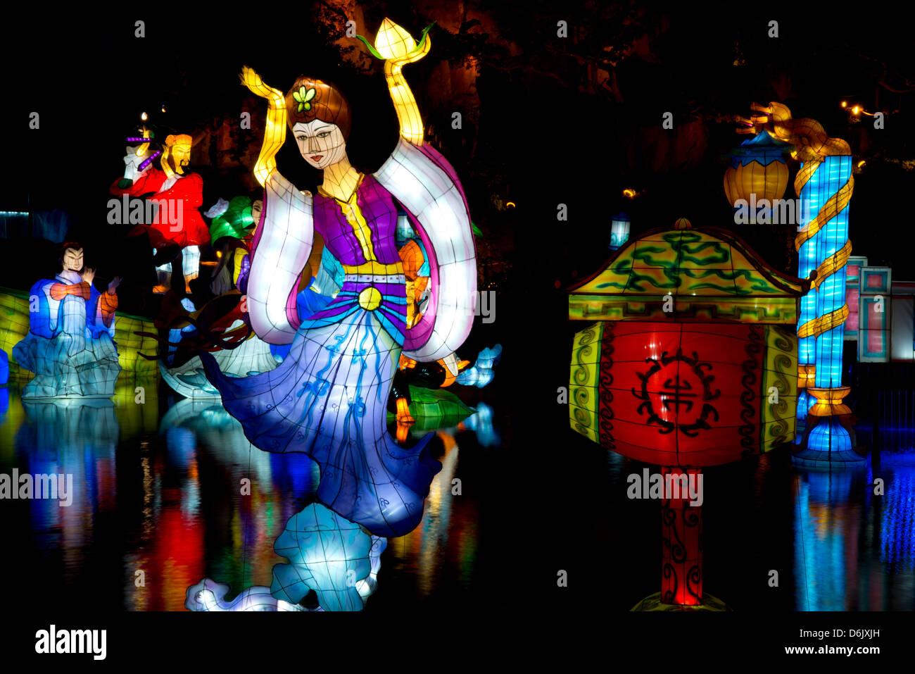 Die Magie der Laternen Festival im chinesischen Garten in Montreal Botanischer Garten, Montreal, Québec, Kanada Stockbild