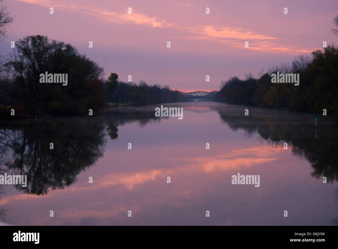 Sonnenuntergang an der Erie-Kanal, New York State, Vereinigten Staaten von Amerika, Nordamerika Stockbild