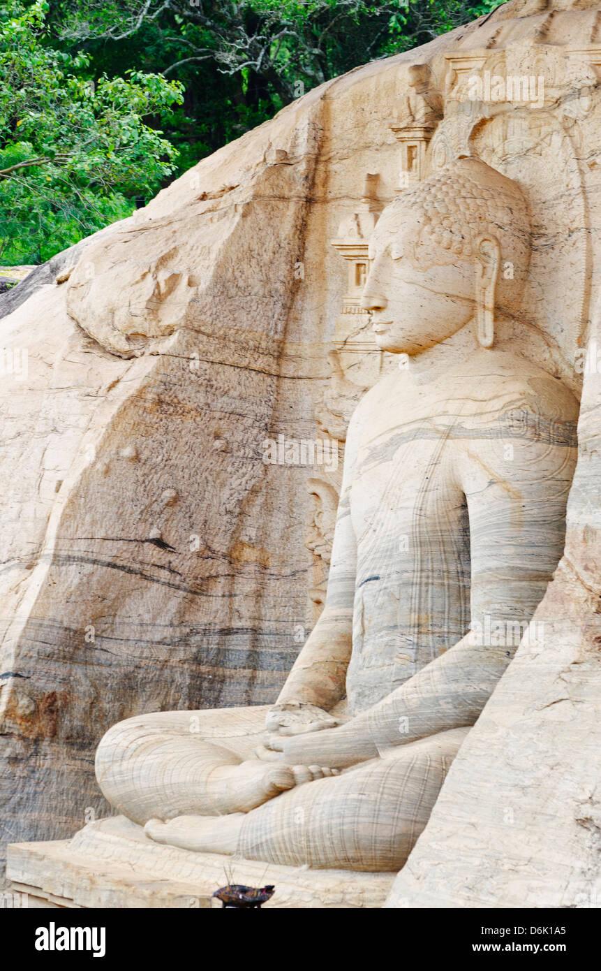Sitzende Buddha, Gal Vihara, Polonnaruwa, UNESCO-Weltkulturerbe, North Central Province, Sri Lanka, Asien Stockbild