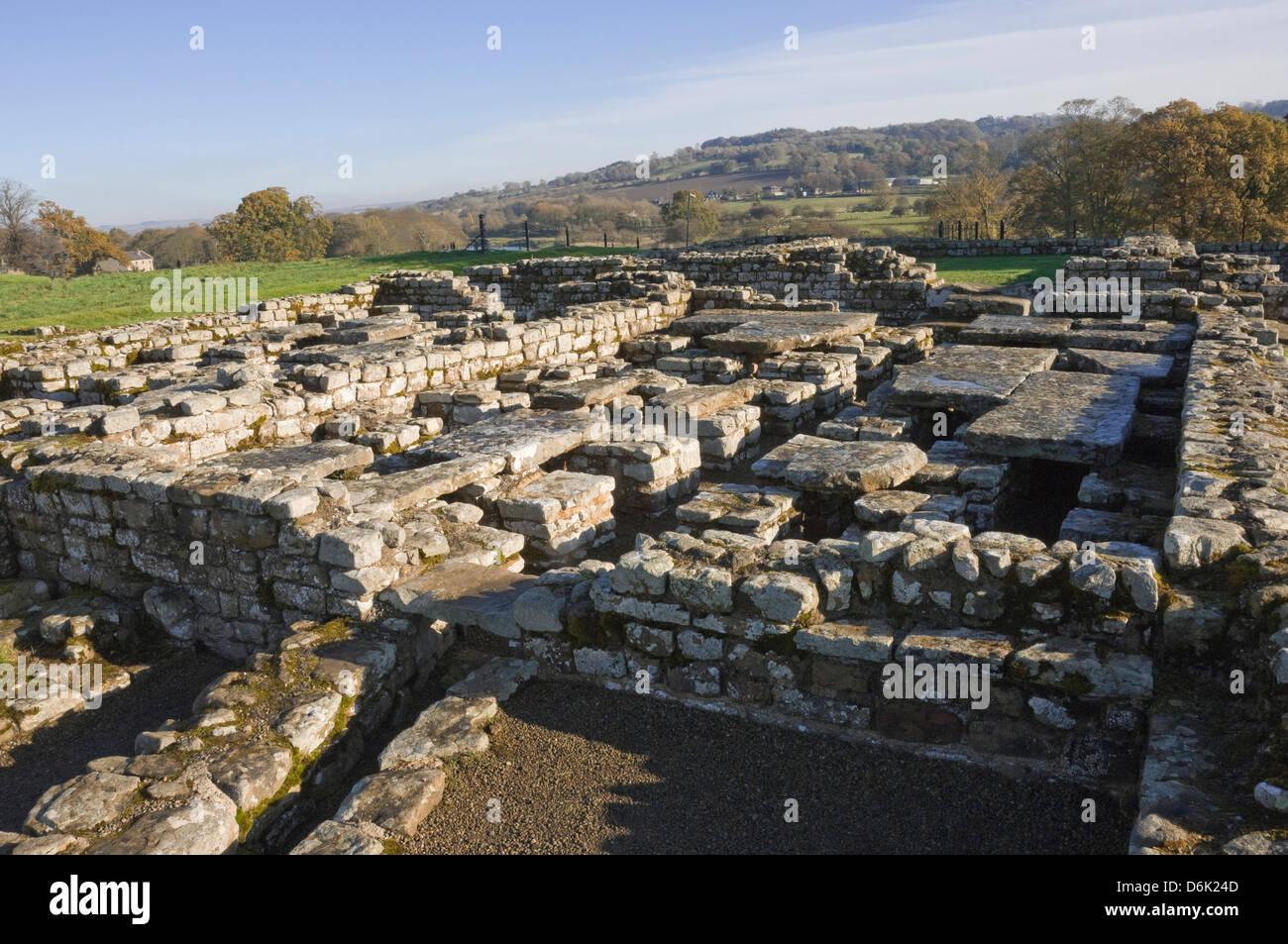 Die Website des Kommandanten Haus, Chesters Roman Fort, Hadrianswall, der UNESCO, Northumbria National Park, England, Stockbild