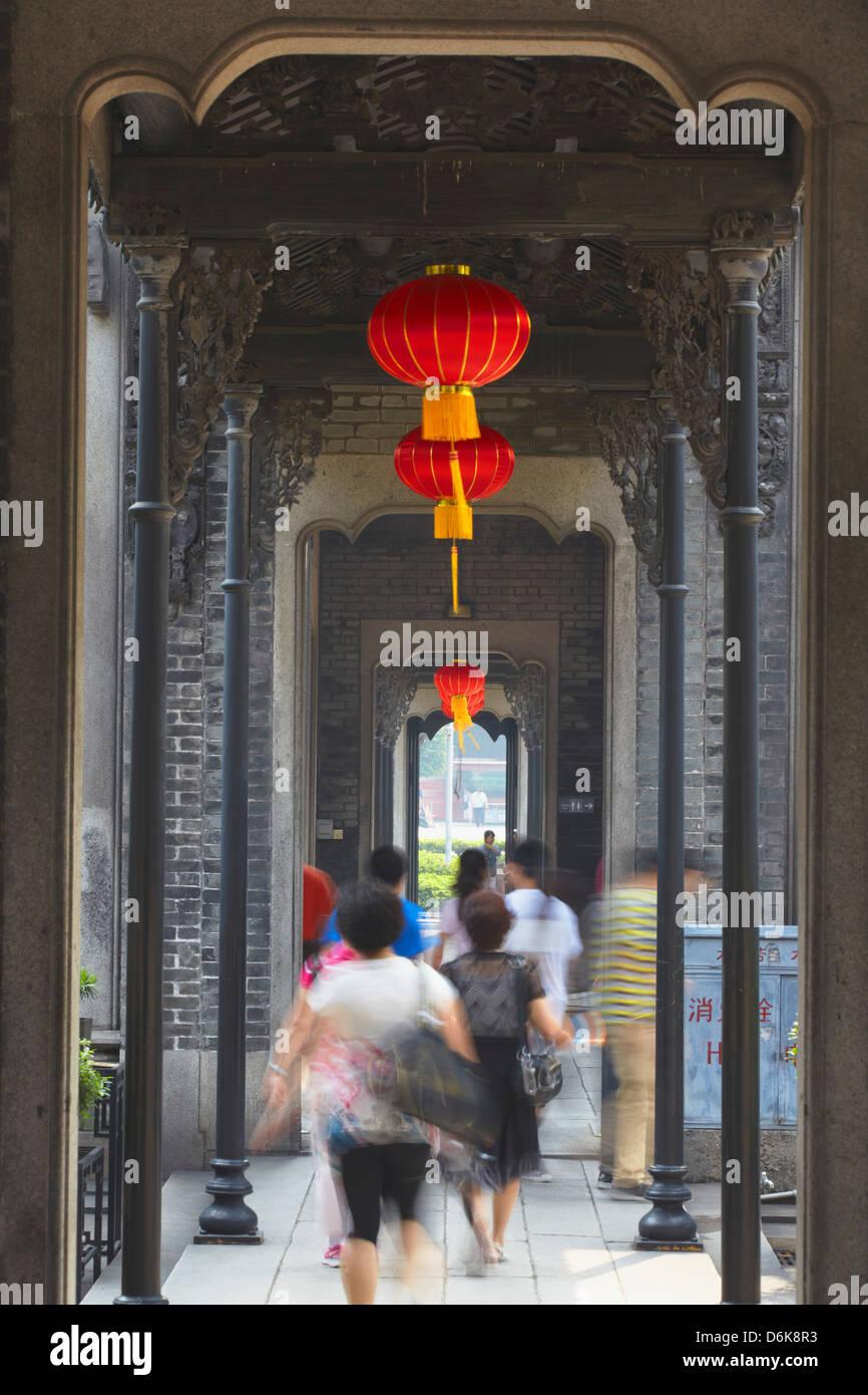 Passanten Korridor an Chen Clan Akademie, Guangzhou, Guangdong, China, Asien Stockbild