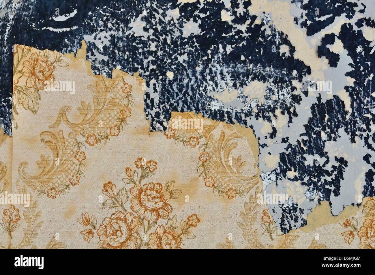 Florale Muster Tapete Auf Abblätternde Farbe Wand Gerissen. Grunge  Hintergrund. Stockbild