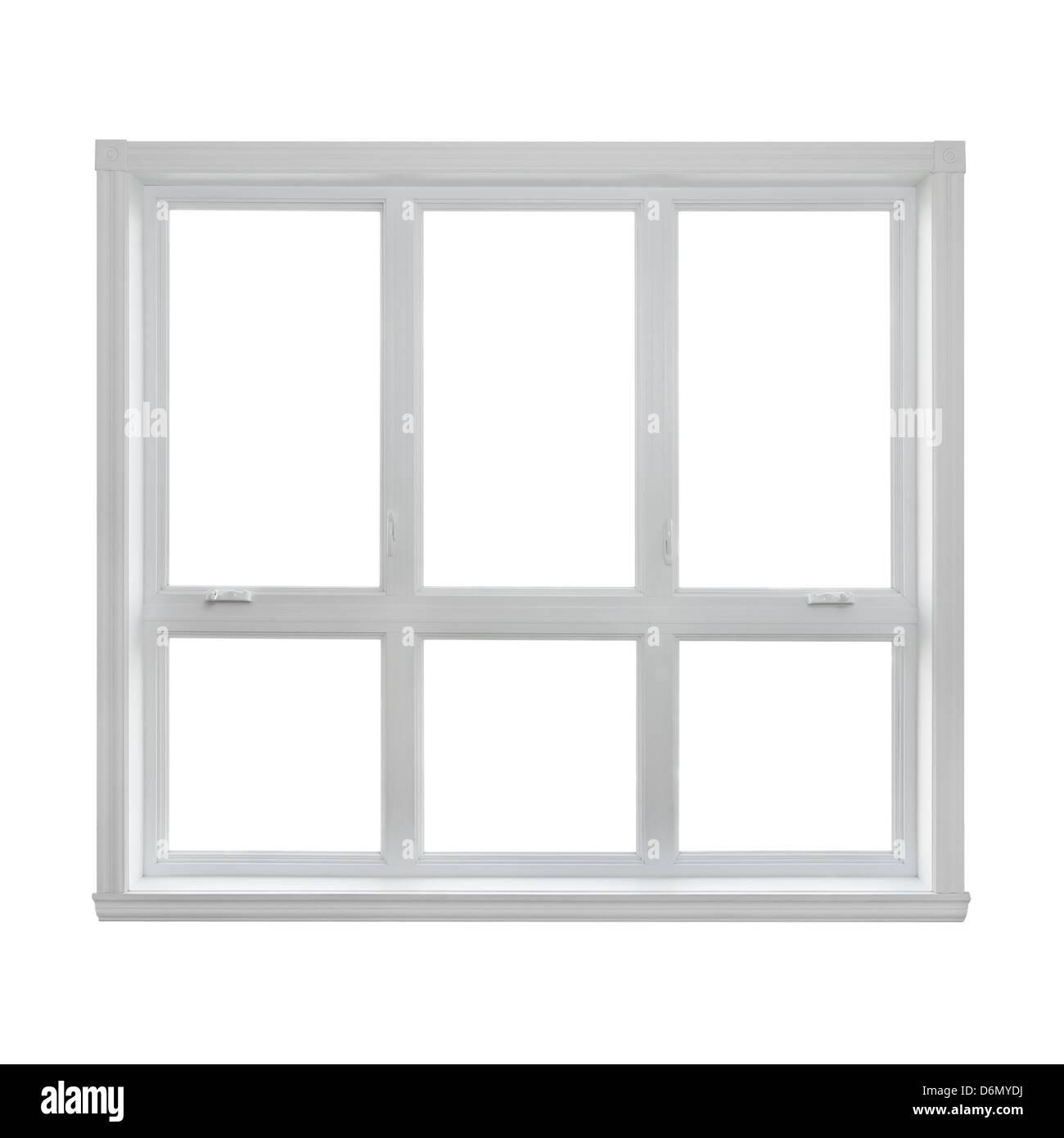 Moderne Fenster isoliert auf weißem Hintergrund mit Textfreiraum. Stockbild