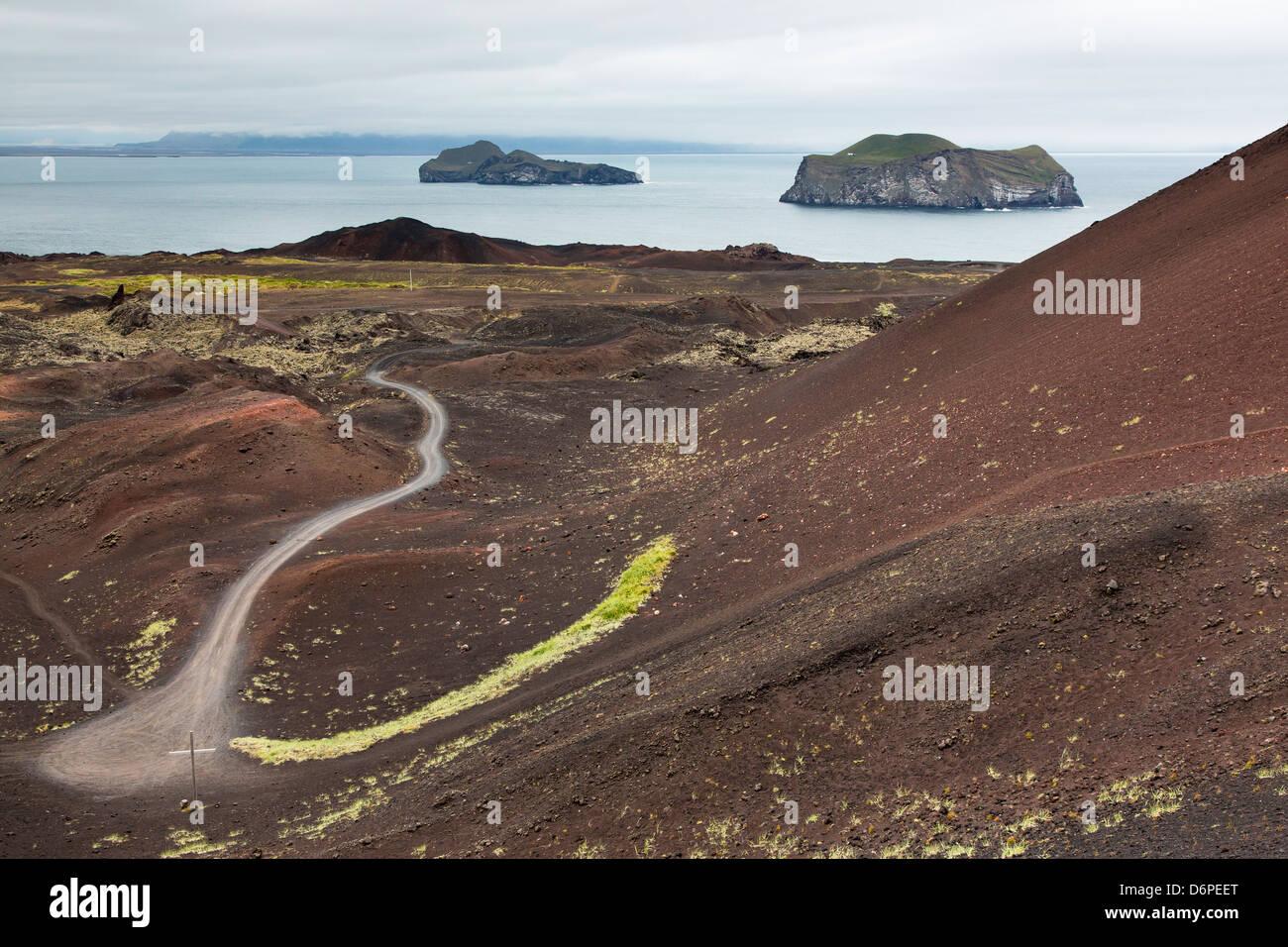 Mit Blick auf den letzten Lavastrom auf Heimaey Island, Island, Polarregionen Stockbild