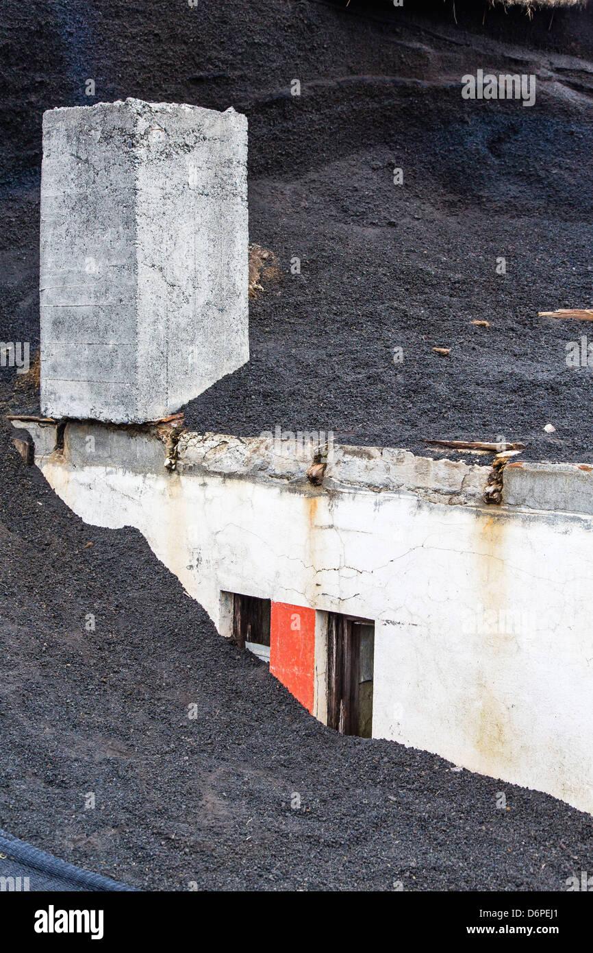 Schäden Sie durch den letzten Lavastrom auf Heimaey Island, Island, Polarregionen Stockbild