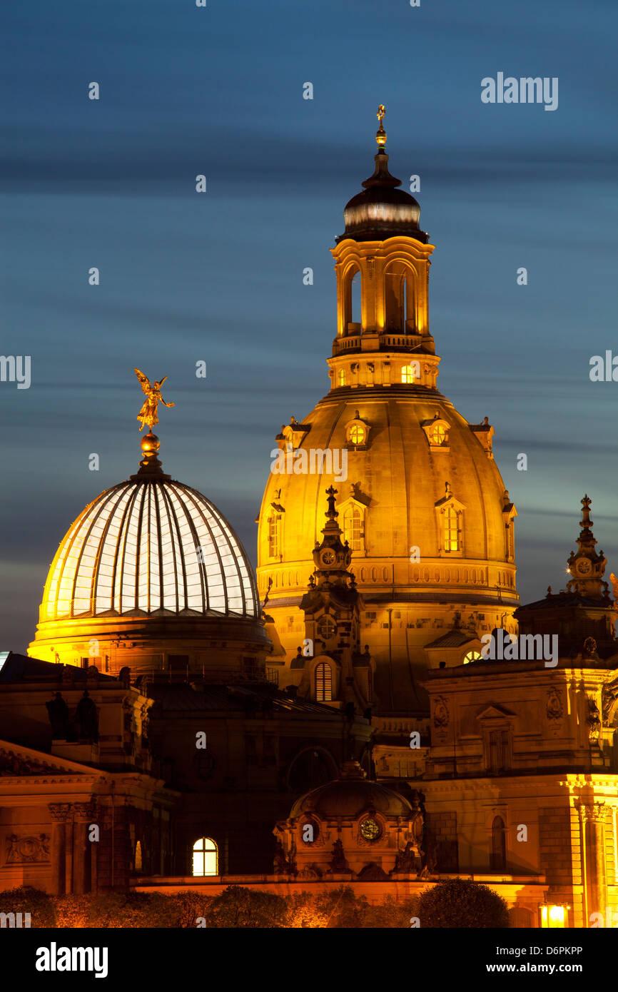 Blick auf die Kuppel der Frauenkirche bei Nacht, Dresden, Sachsen, Deutschland, Europa Stockbild