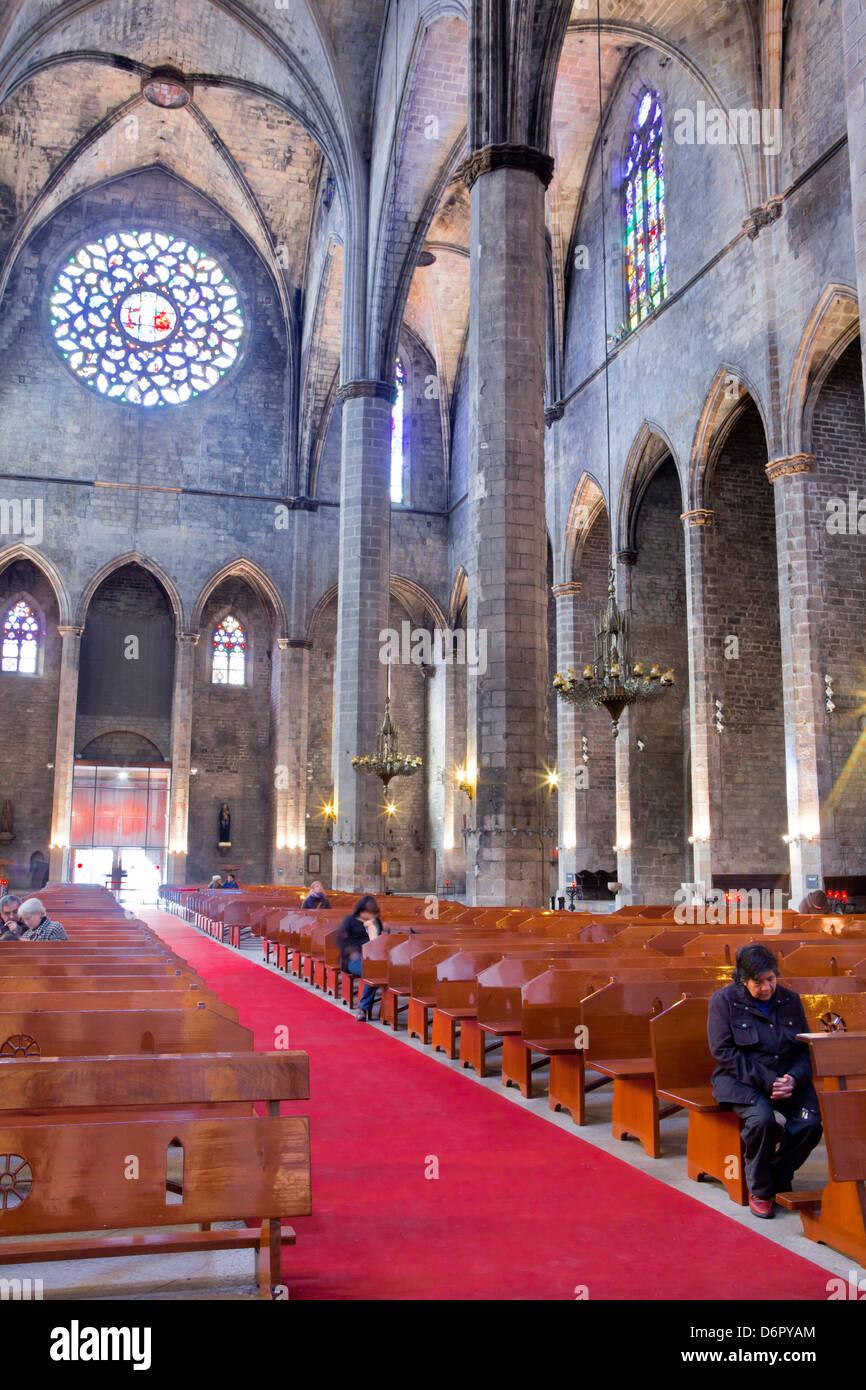 Kathedrale von Santa Maria del Mar, Barcelona, Spanien Stockbild