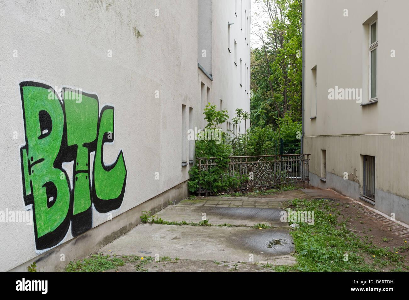 Berlin Deutschland Graffiti Im Hinterhof Eines Hauses In