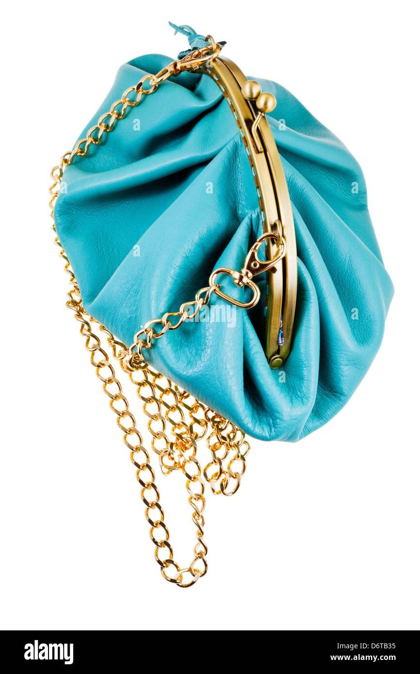 9cd1695b9c682 blaue Leder Retro-Stil Theater Tasche auf weißem Hintergrund isoliert