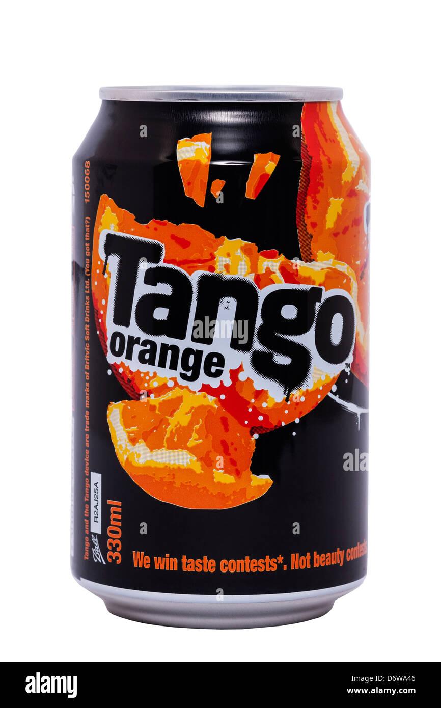 Eine Dose Tango Orange auf weißem Hintergrund Stockbild
