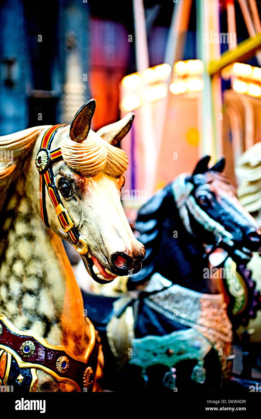 Karussell Pferd auf dem historischen Jahrmarkt in Deutschland Stockbild