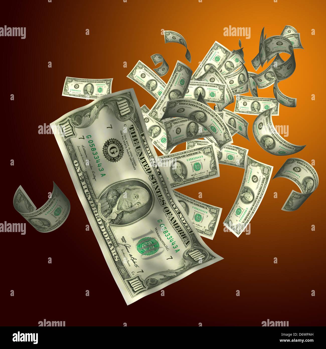 3D-Render fliegen $100 Dollar-Schein Stockfoto, Bild: 55885385 - Alamy