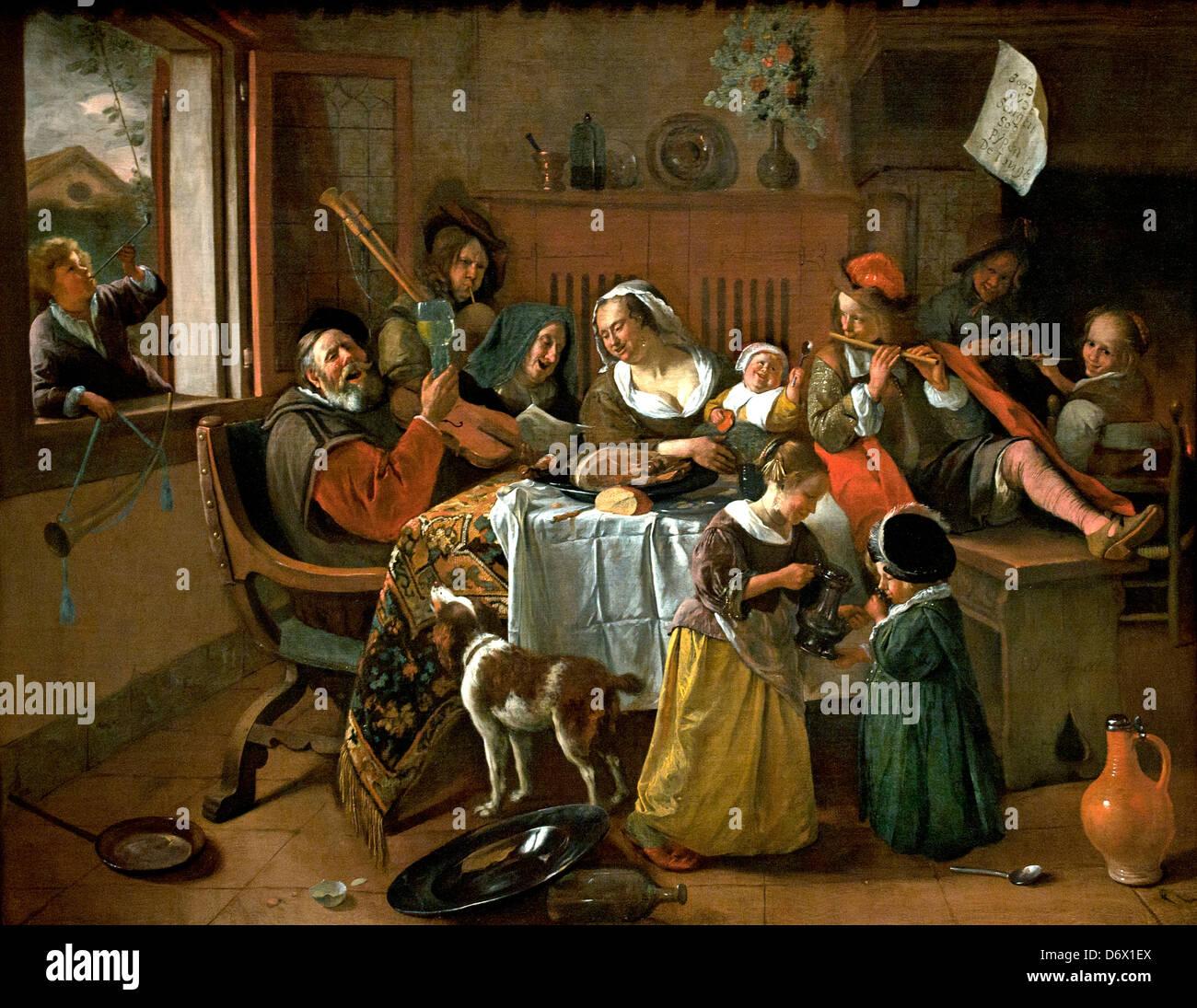 Die fröhliche Familie 1668 Jan Havickszoon Steen 1626-1679 Niederlande Niederlande Holland Stockbild
