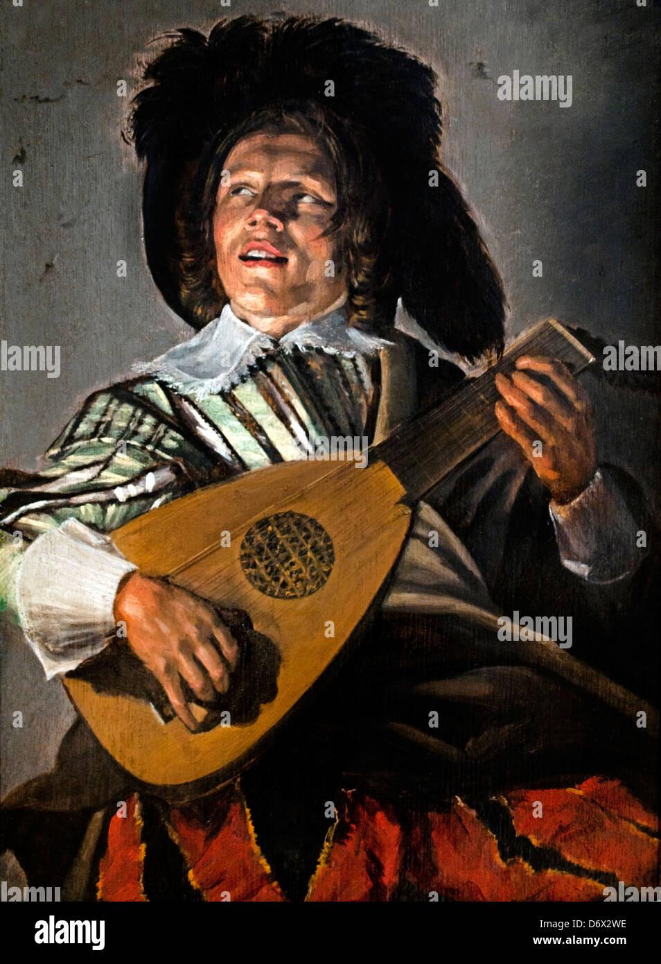 Die Serenade 1629 Judith Leyster 1609-1660 niederländische Niederlande (The Singing Lautenspieler dargestellt Stockbild