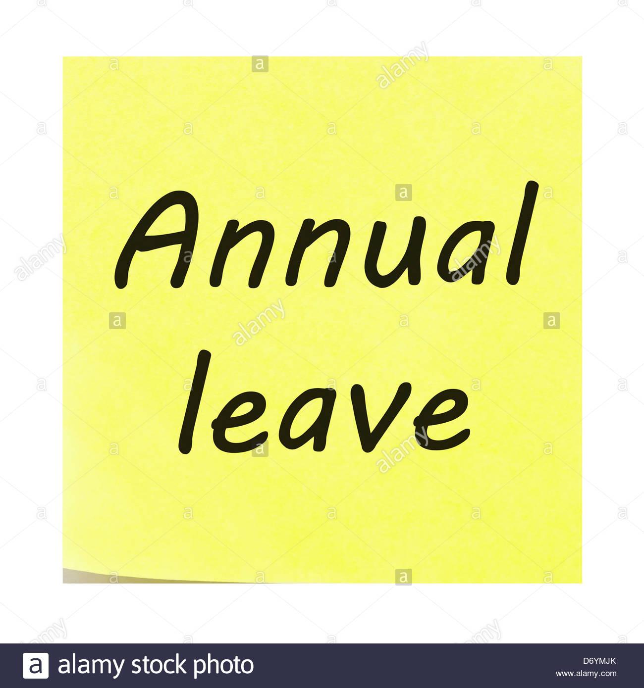 Jahresurlaub auf einem gelben Zettel geschrieben. Post-it Note mit der Ecke schälen sich. Stockbild