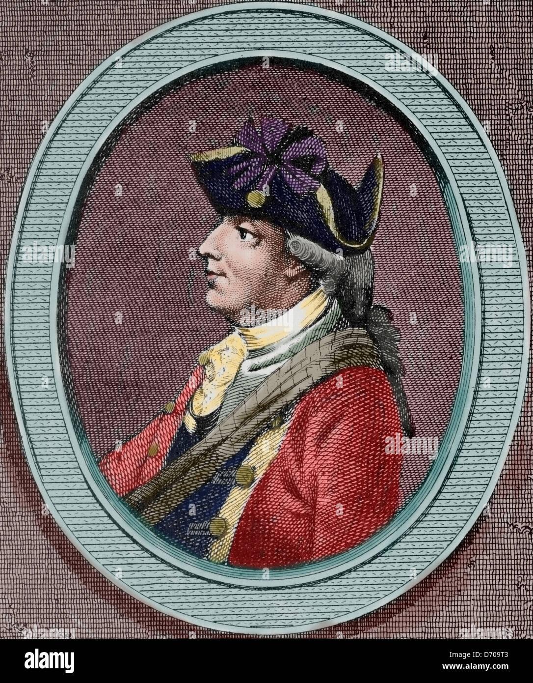 Henry Clinton (1730-1795). Britische Militär und Politiker. Gravur in amerikanische Revolution. Farbige. Stockbild