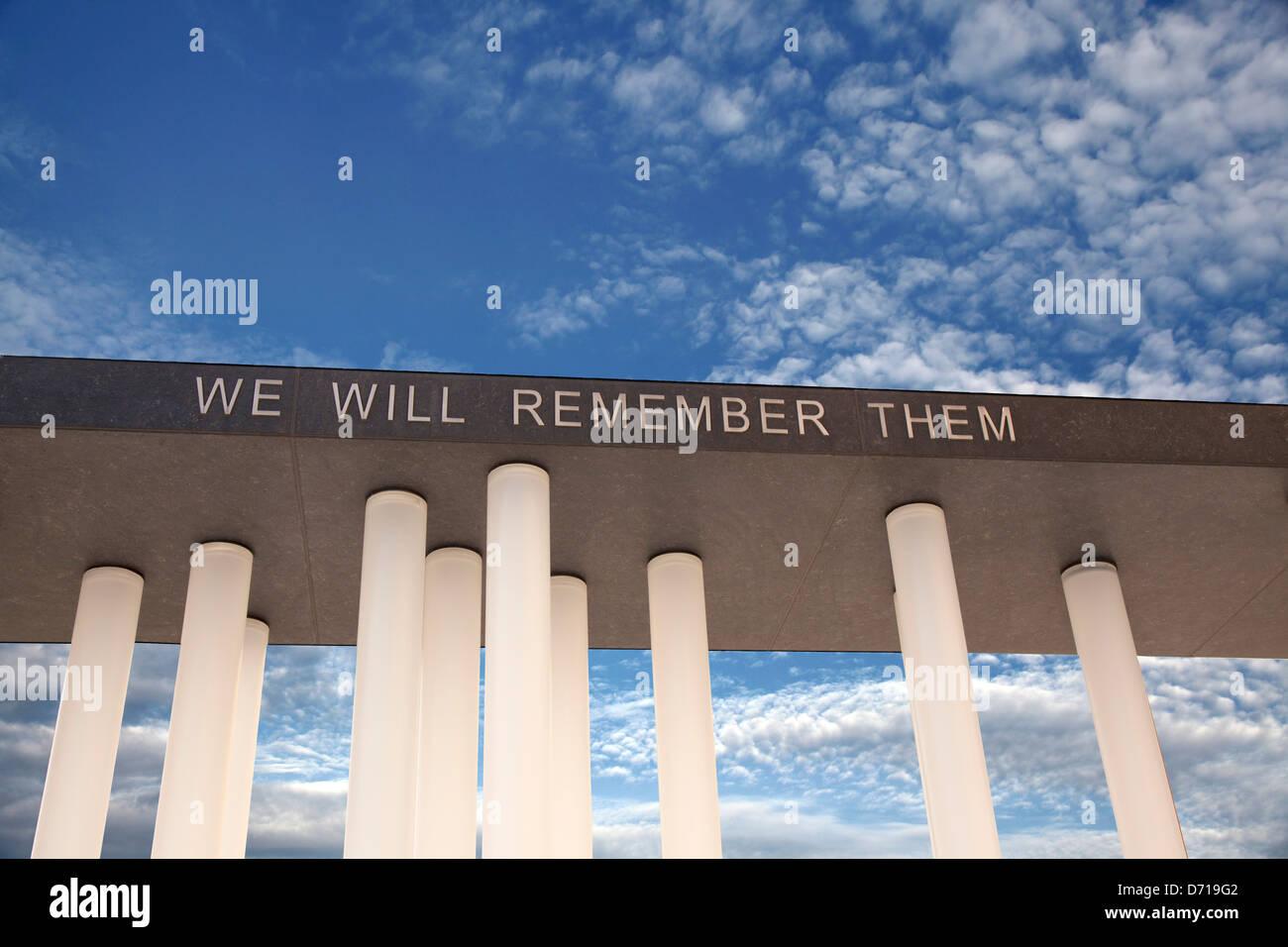 Wir werden sie nicht vergessen. Stockbild