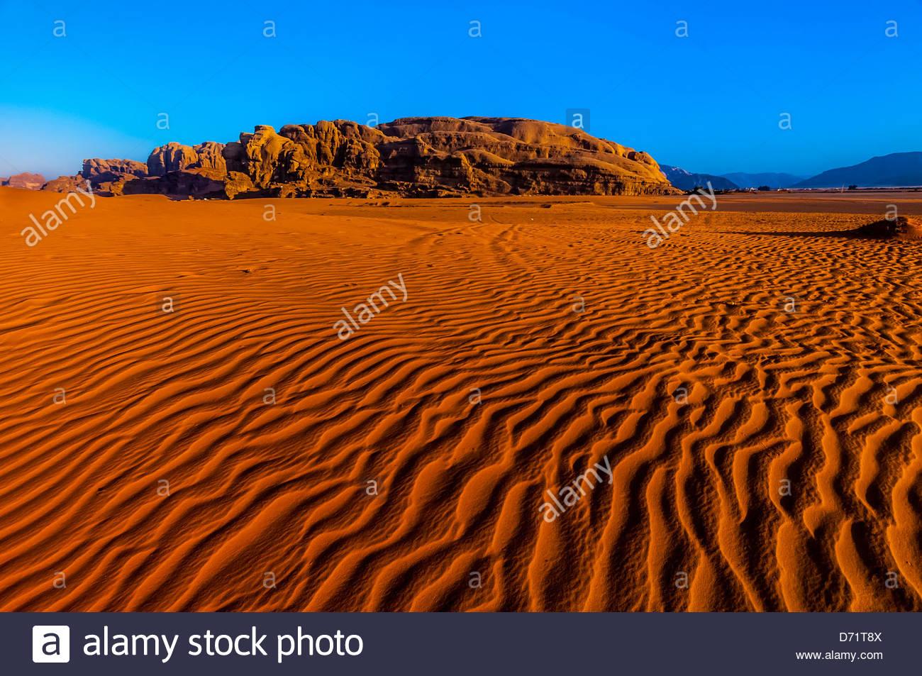 Arabische Wüste Wadi Rum, Jordanien. Stockbild