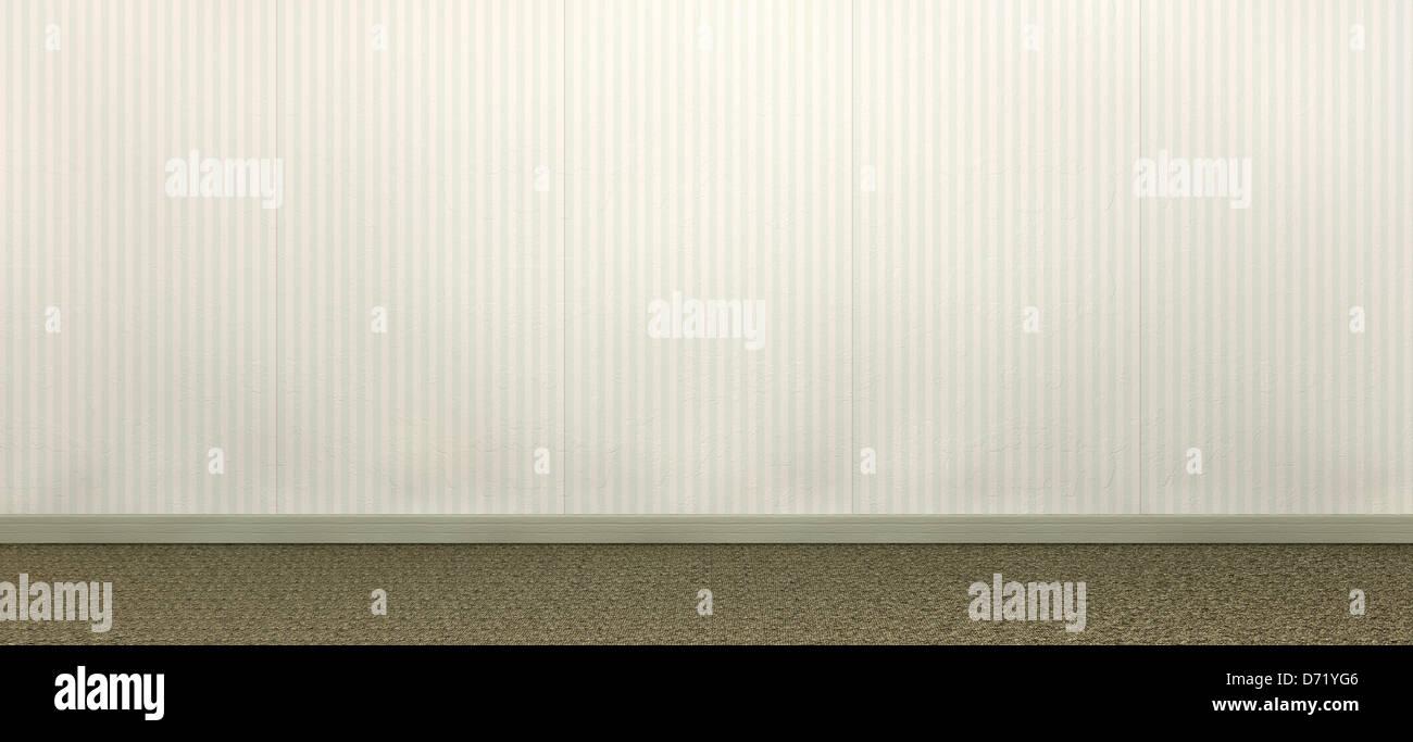 Eine Vorderansicht Einer Wand Und Teppich Ein Altes Zimmer Mit Datierten  Gestreifte Tapete Und Einem Braunen Teppich Mit Einer Grünen Holz  Sockelleisten