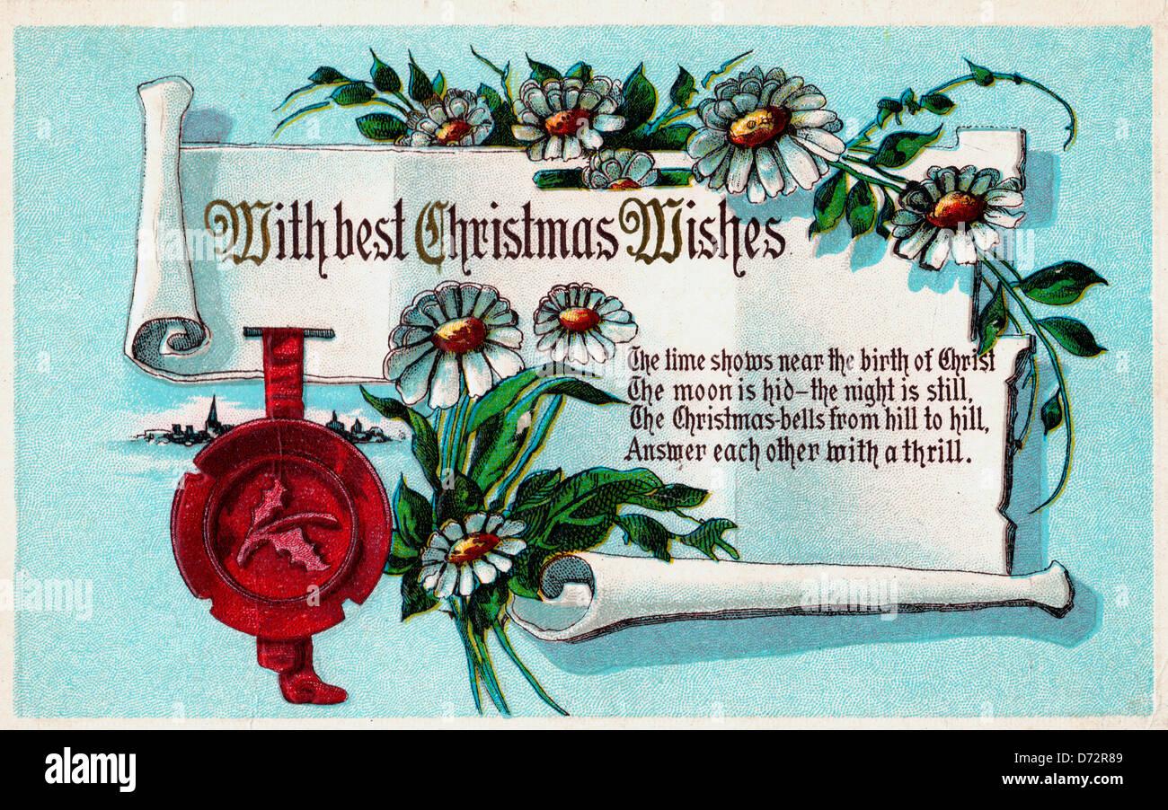 Mit besten Weihnachtswünsche - Vintage Weihnachtskarte Stockfoto ...