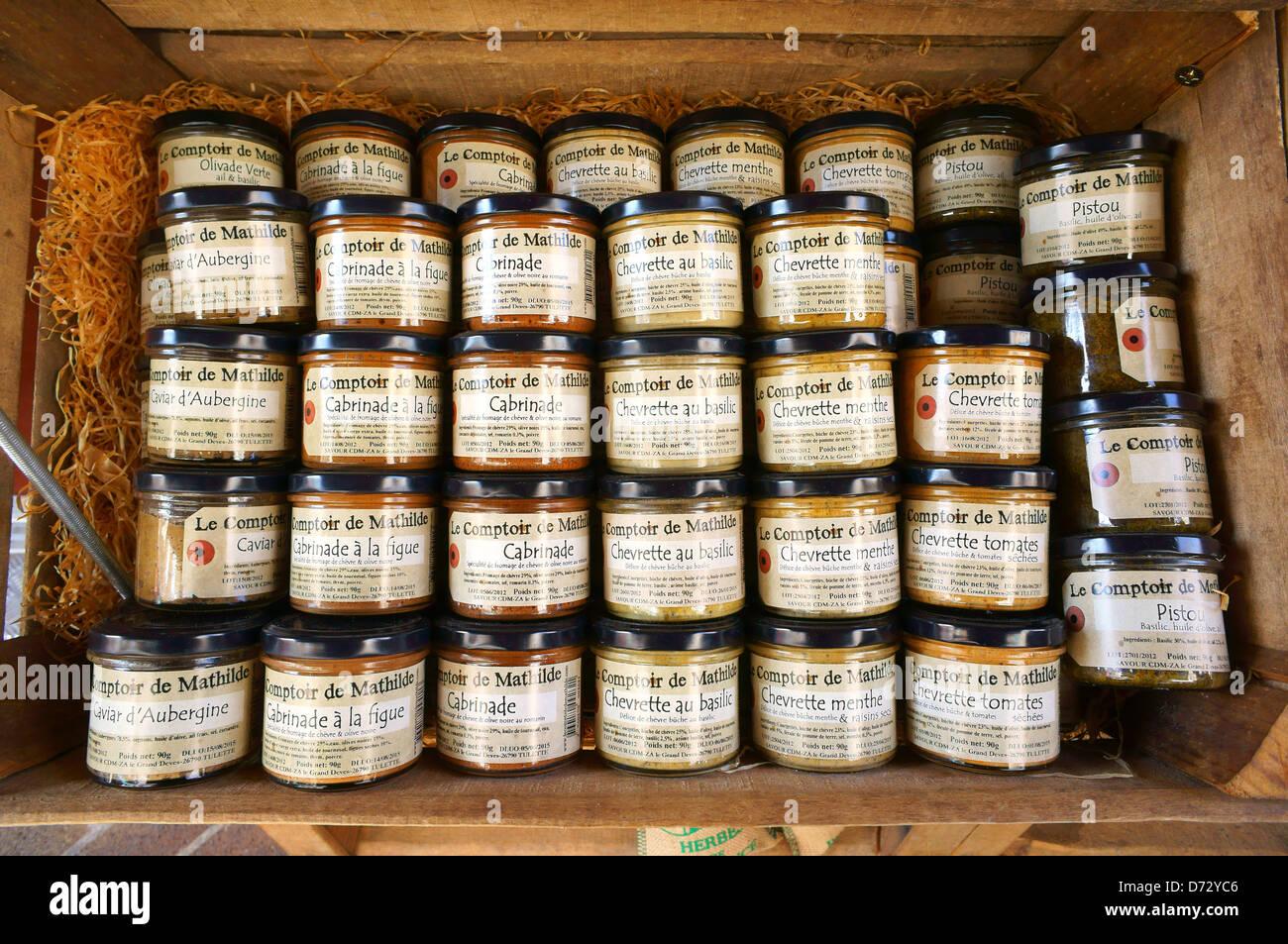 Gänseleber und lokale Spezialitäten für Verkauf Sarlat Perigord Frankreich angezeigt Stockbild
