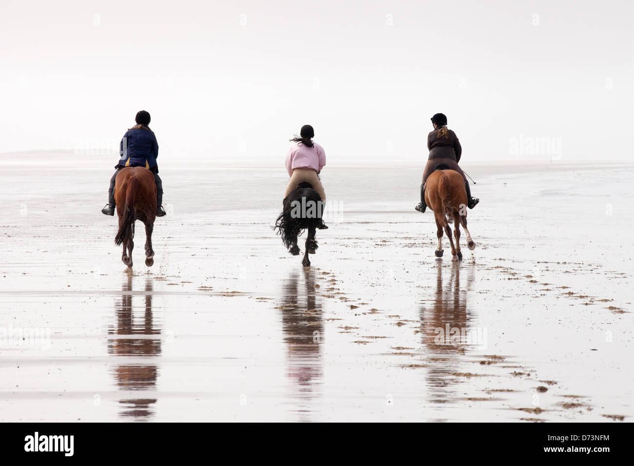 Drei Mädchen auf Pferde Reiten in der Entfernung, Holkham Beach, Norfolk, East Anglia, England UK Stockbild
