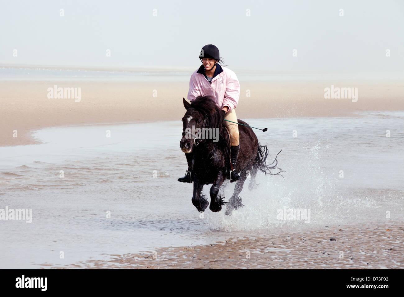 Eine junge Frau, die ihr Haustier Pony reiten, auf dem Strand, Holkham Beach, Norfolk UK Stockbild
