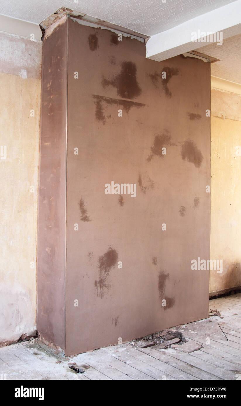 Neu verputzt interne Wand in einem Heim Einstellung, uk Property ...