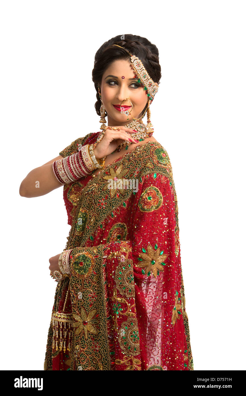 Indische Braut in traditionellen Brautkleid Stockfoto, Bild ...